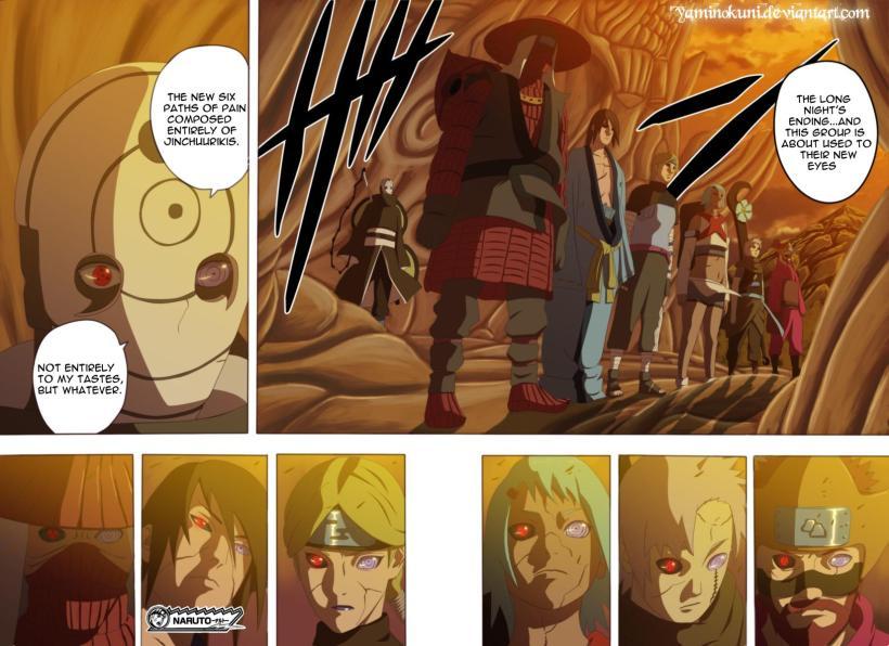 Naruto Chapter 544 - Tobi's Six Paths of Pain, the Jinchuuriki's - coloured by yaminokuni (http://yaminokuni.deviantart.com)