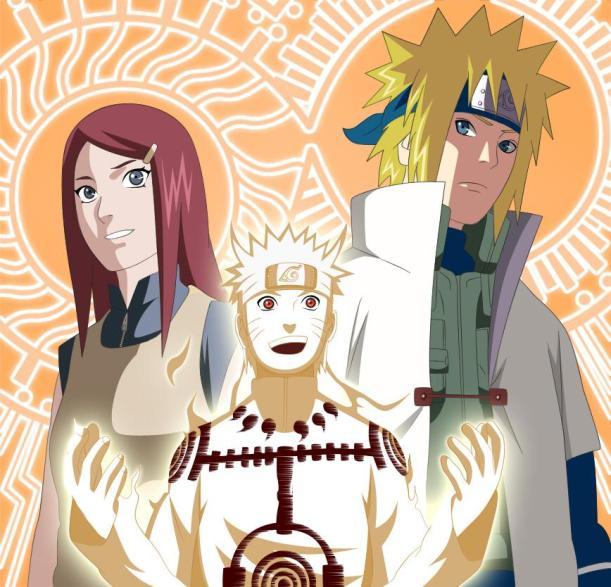 Naruto Chapter 544 - Kusina, Minato and Naruto - coloured by darkalx