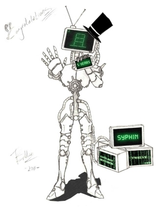 Original character - 12.bot celebrating 5 years of imtwelve.com