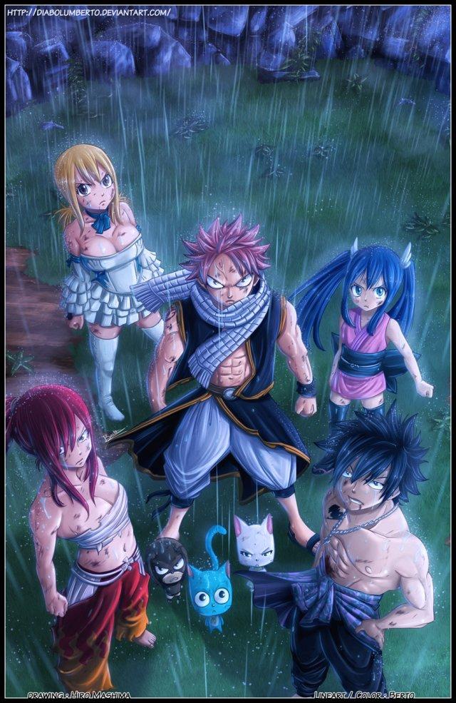 Fairy Tail Chapter 242 - Team Natsu - coloured by diabolumberto (http://diabolumberto.deviantart.com)
