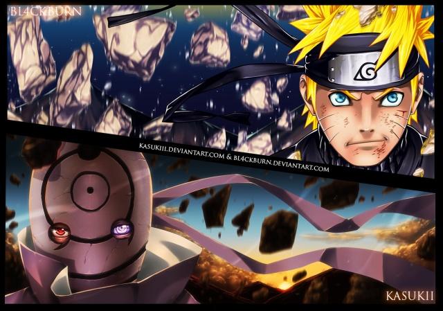 Naruto Chapter 595 Color Spread - Naruto and Tobi - colour by Kasukiii and Bl4ckBurn (http://kasukiii.deviantart.com/)
