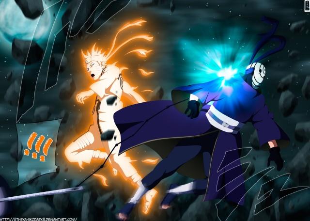 Naruto Chapter 596 - Naruto vs Tobi - colour by IITheYahikoDarkII (http://iitheyahikodarkii.deviantart.com)