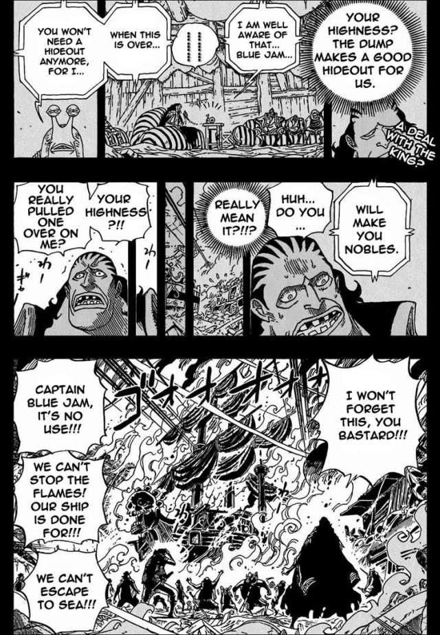 One Piece chapter 587 - Bluejam cursing the King of the Goa Kingdom
