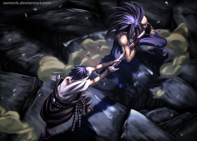 Naruto chapter 657 - Madara vs Sasuke - colour by Sentork (http://sentork.deviantart.com)