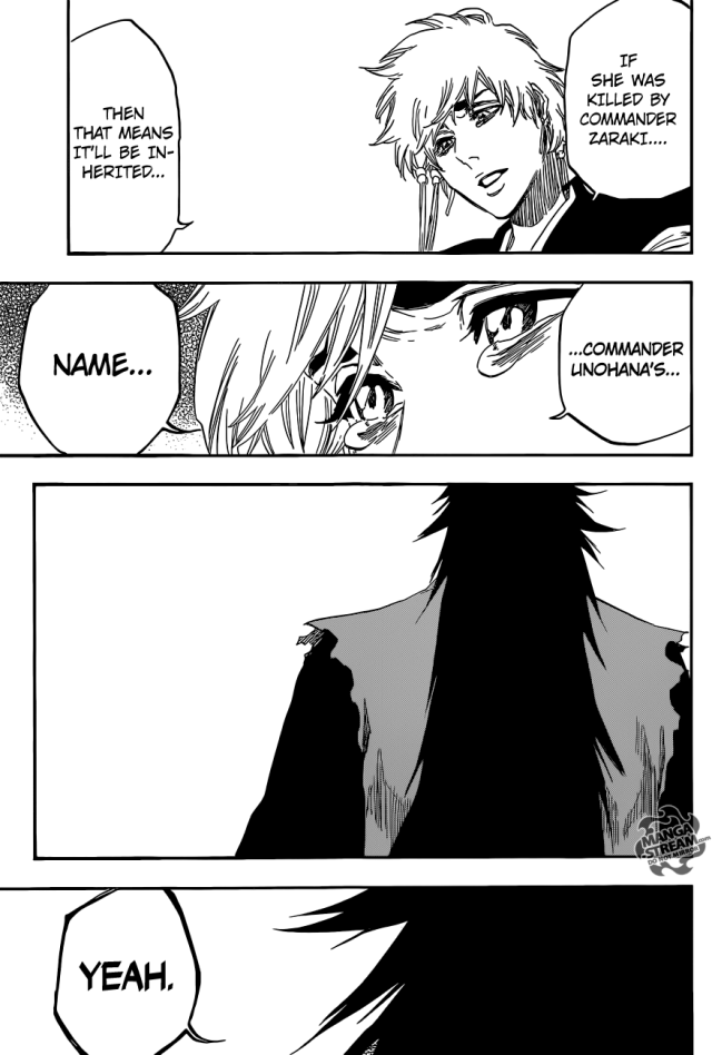 "Bleach chapter 573 - Zaraki taking on the name ""Kenpachi"" from Unohana"
