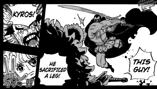 One Piece chapter 742 - Kyros cuts his own leg