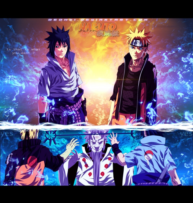 Naruto chapter 671 - Naruto and Sasuke - color by DEOHVI (http://deohvi.deviantart.com)