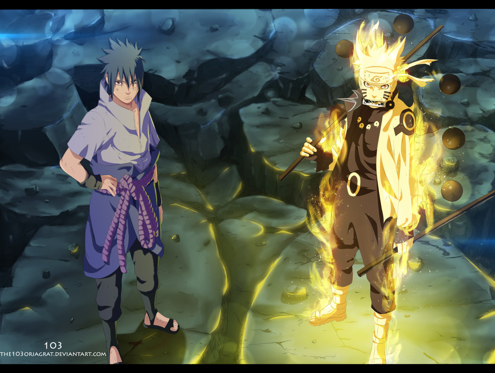 Naruto chapter 673 naruto and sasuke vs madara 12dimension - Naruto as sasuke ...
