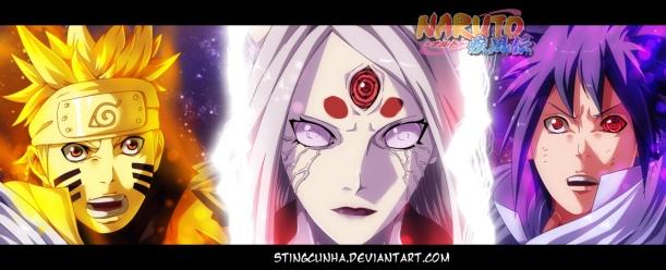 Naruto chapter 679 - Naruto, Kaguya, and Sasuke - colour by StingCunha (http://stingcunha.deviantart.com)