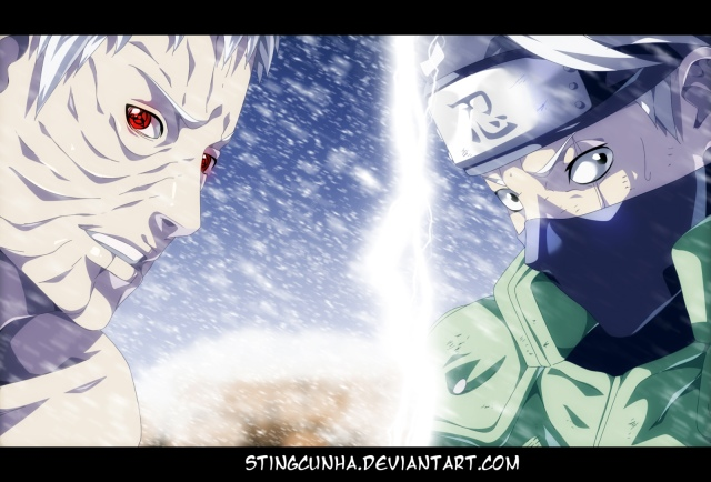 Naruto chapter 686 - Obito and Kakashi - colour by StingCunha (http://stingcunha.deviantart.com)