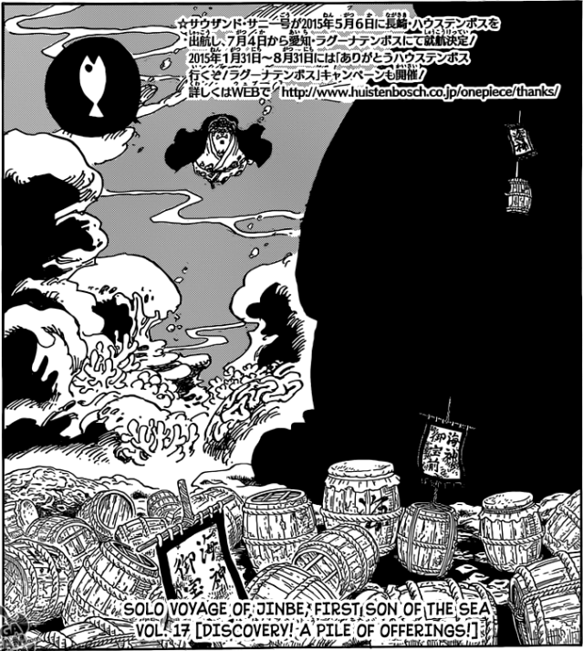 One Piece chapter 770 - Jinbe encounters the culprit behind the stolen offerings