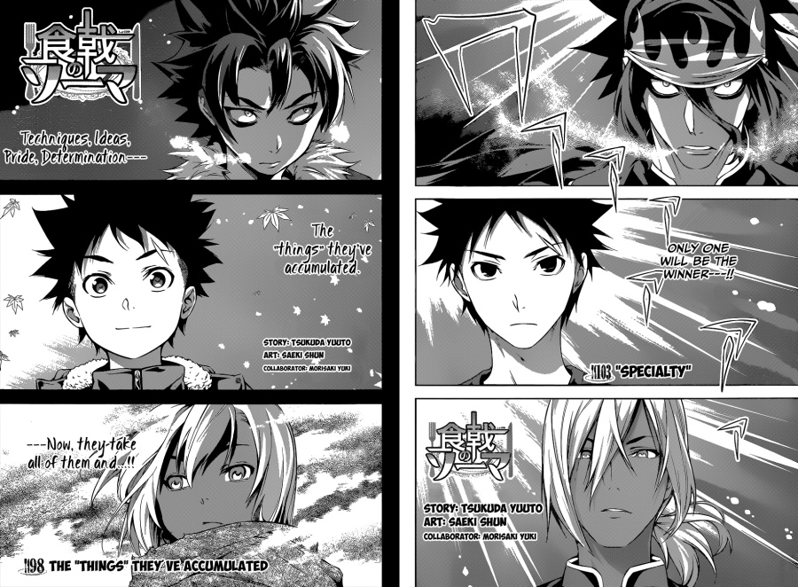 Shokugek no Soma chapter 98 and chapter 103 - The Autumn Election final
