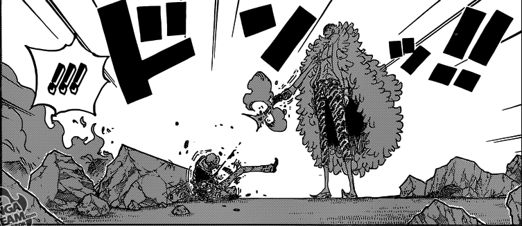 One Piece chapter 780 - Doflamingo shooting Law