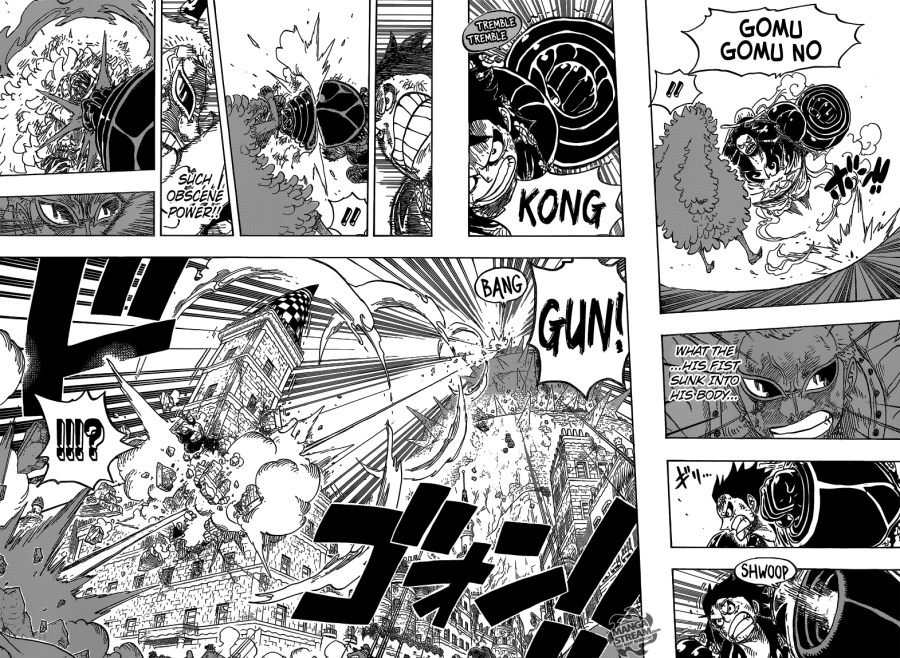 One Piece chapter 784 - Luffy attacks Doflamingo in Gear Fourth
