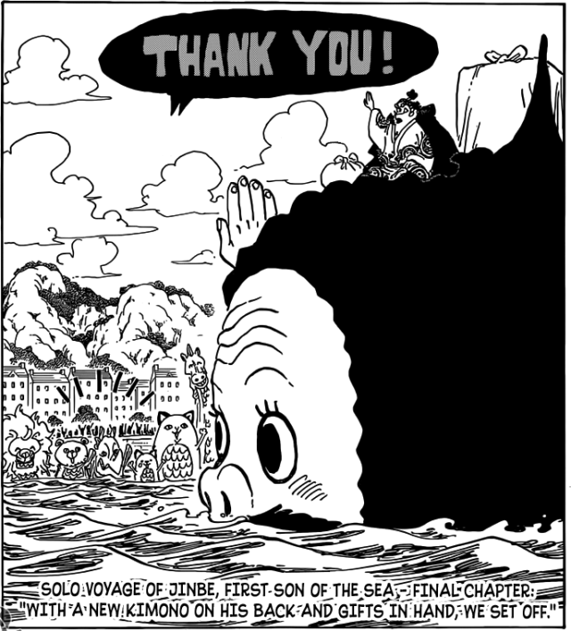 One Piece chapter 785 - Jinbe leaves with Wadatsumi