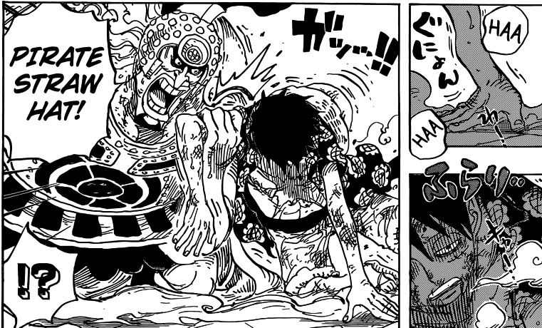 One Piece chapter 786 - Gatz helps Luffy up