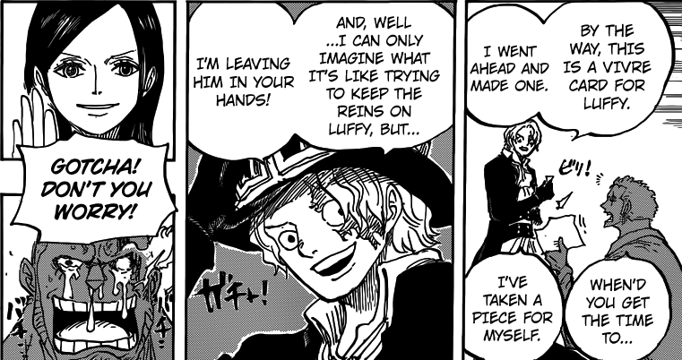 One Piece chapter 794 - Sabo hands Zoro a vivre card