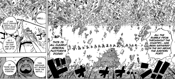 One Piece chapter 798 - Isshou gathers the rubble