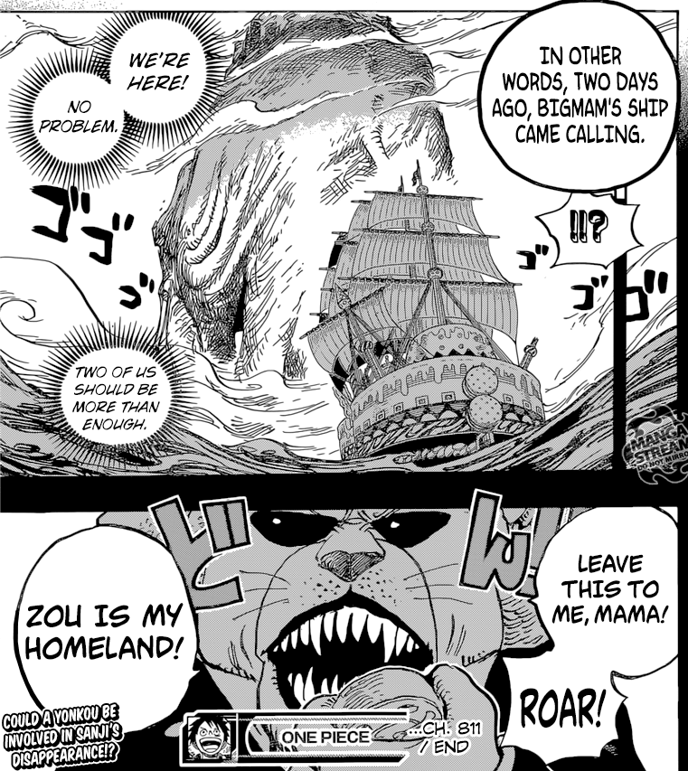 One Piece Chapter 811- Pekoms arrives at Zou
