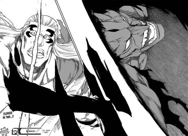 Bleach chapter 669 - Zaraki's cleaves Gerard in two