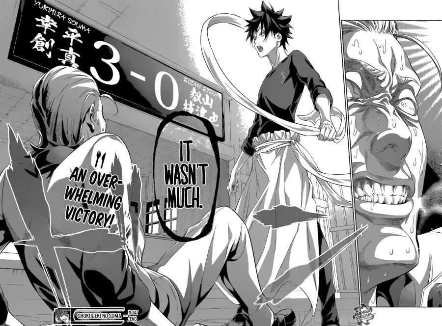 Shokugeki no Soma chapter 147 - Souma defeats Eizan in a Shokugeki