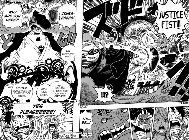 One Piece chapter 851 - Jinbe saves Luffy and Nami