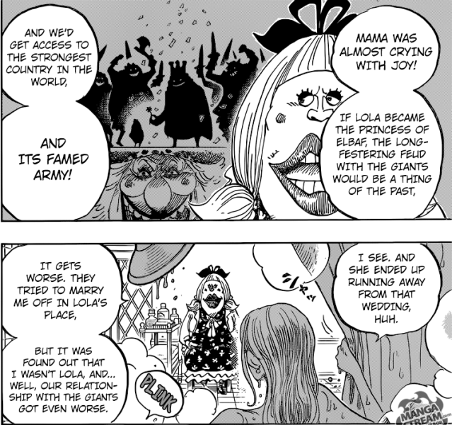 One Piece chapter 858 - Big Mom's hatred for Lola