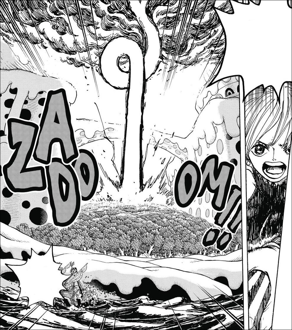 One Piece chapter 875 - Nami releasing Zeus's lightning