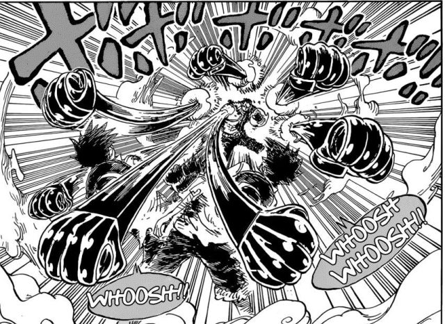 One Piece chapter 894 - Luffy dodging Katakuri's attacks