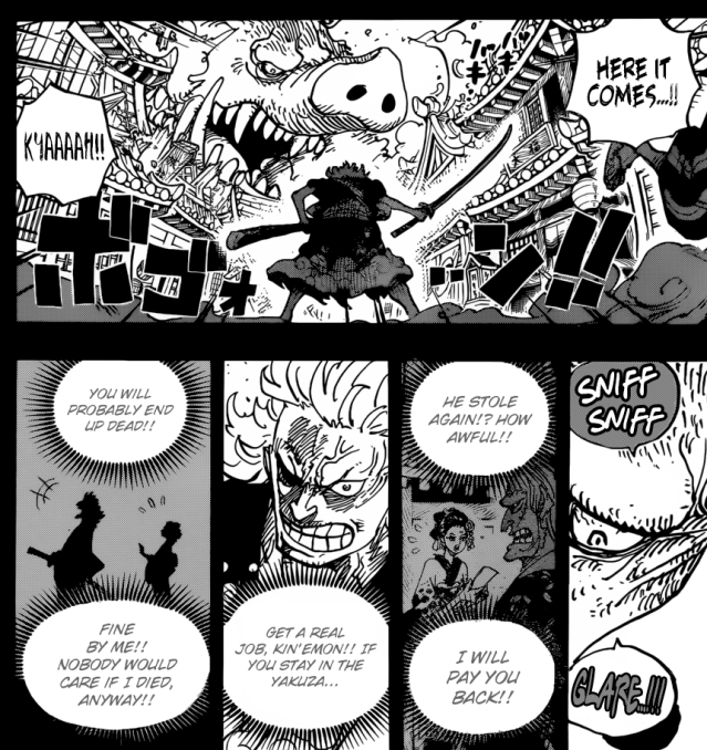 One Piece chapter 961 - Kine'mon faces the Mountain God