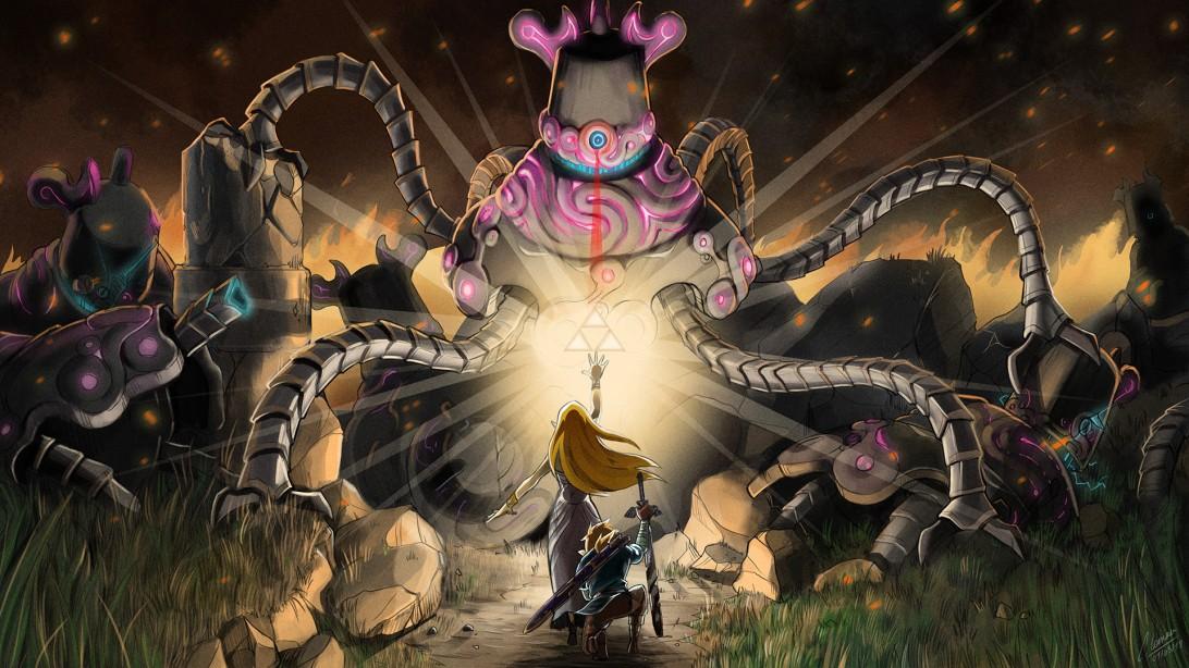 The Legend of Zelda Breath of the Wild - Zelda and Link VS Guardian