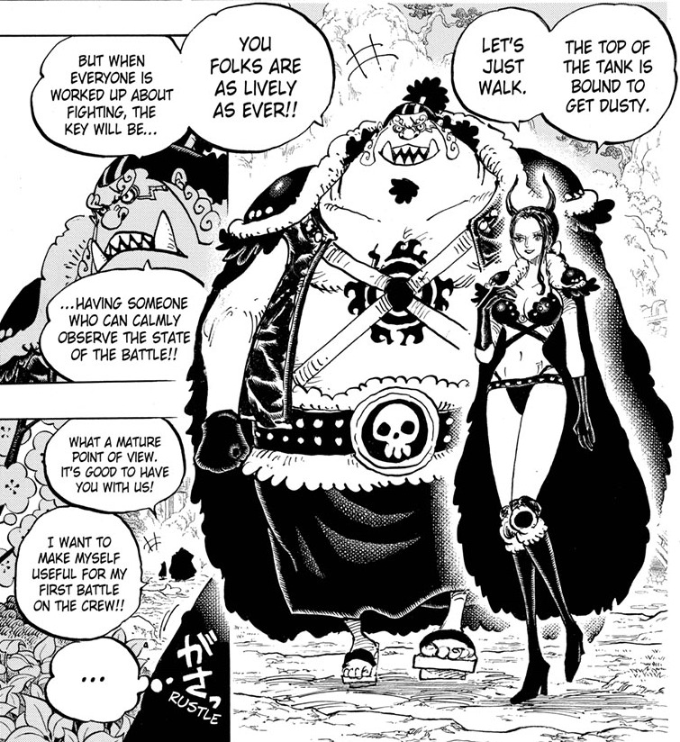One Piece chapter 979 - Robin and Jinbe head to Onigashima Castle on foot