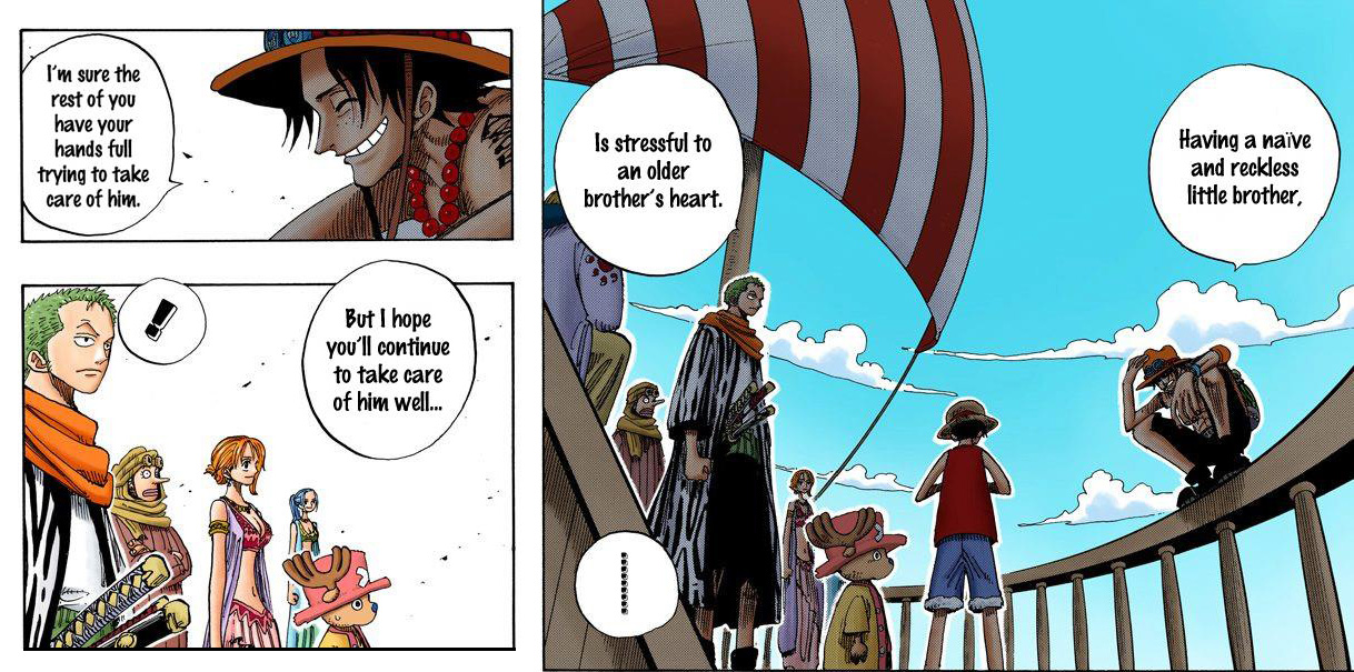 Ace is relieved Luffy has such wonderful nakama