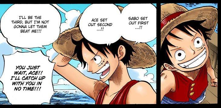 One Piece chapter 589 - flashback of Luffy departing Dawn Island 3 years after Ace
