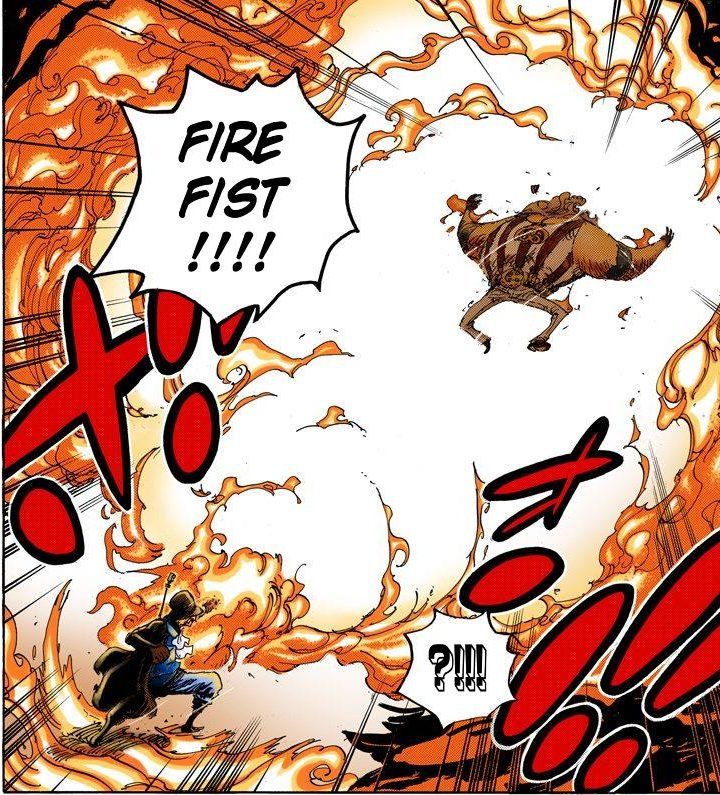 One Piece chapter 792 - Sabo channels Ace's flame through himself to defeat Jesus Burgess