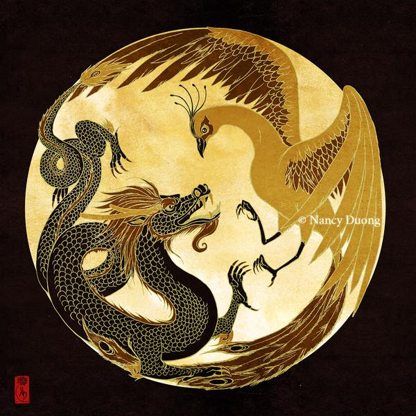 Dragon and Phoenix by lilsuika (https://www.deviantart.com/lilsuika)
