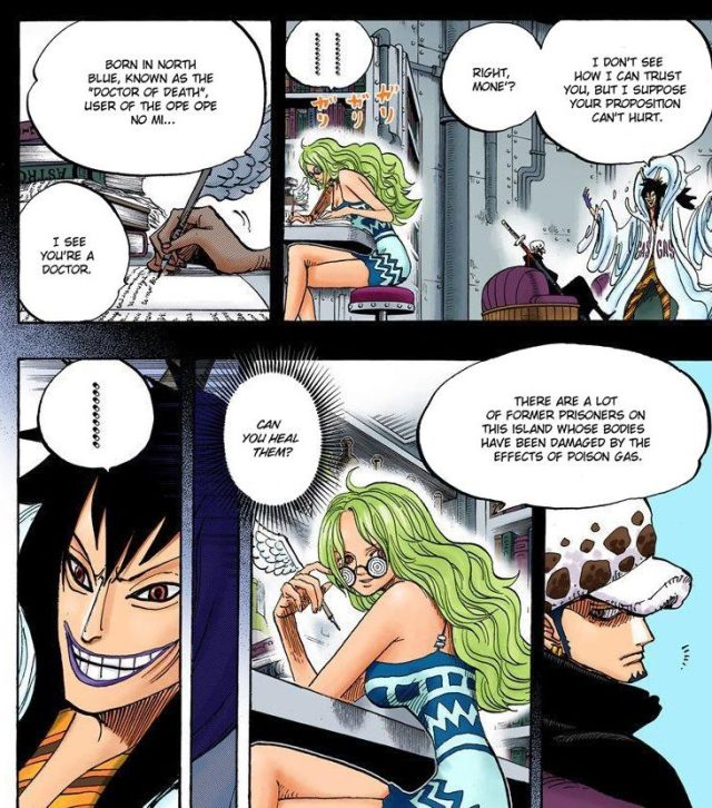 One Piece chapter 666 - Monet request Law to heal the injured Island prisoners