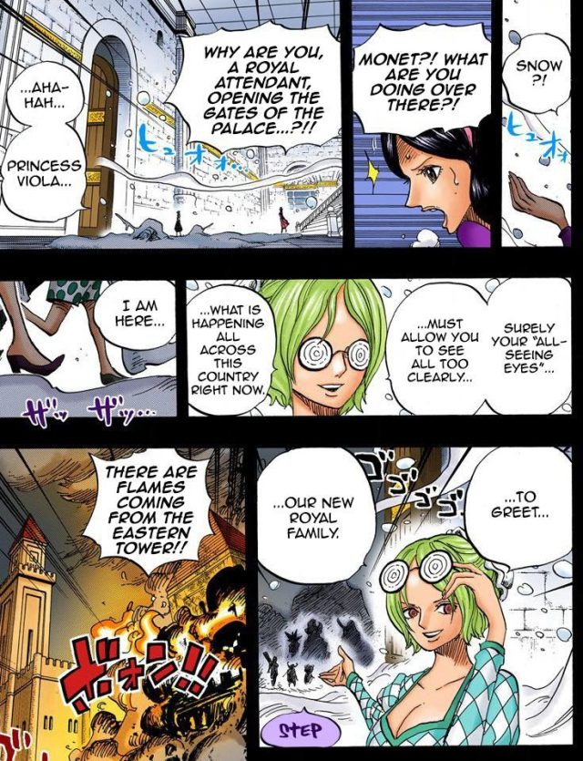 One Piece chapter 728 - Monet opens the Dressrosa Palace doors