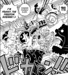 One Piece chapter 988 - Franky rides over Big Mom and Brook slashes Zeus