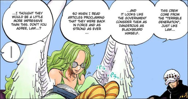One Piece chapter 666 - Monet reveals she is educated on the history of the Worst Generation and Law's involvement with Luffy