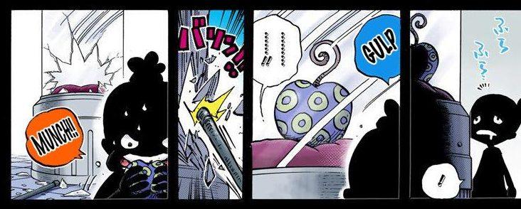 One Piece chapter 685 - Momonosuke eats Dr. Vegapunk's artificial devil fruit