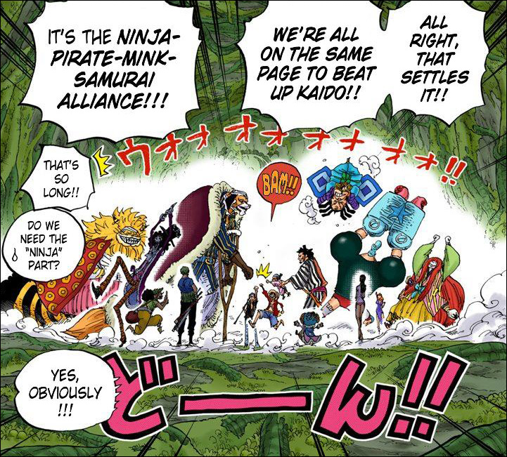 One Piece chapter 819 - The Ninja-Pirate-Mink-Samurai alliance is formed