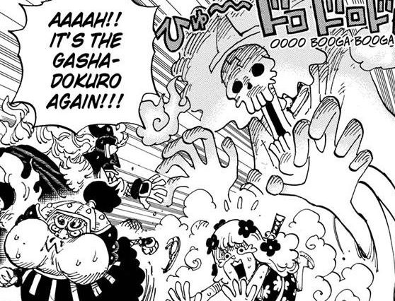One Piece chapter 945 - Brook is confused for a Gashadokuro