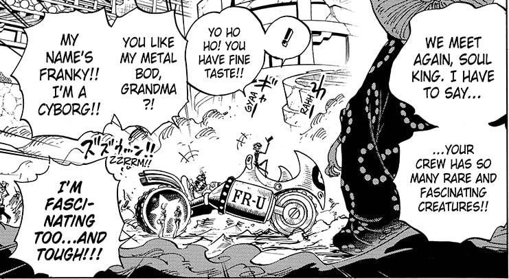 One Piece chapter 989 - Big Mom comments on the creatures in the Straw Hat Pirates