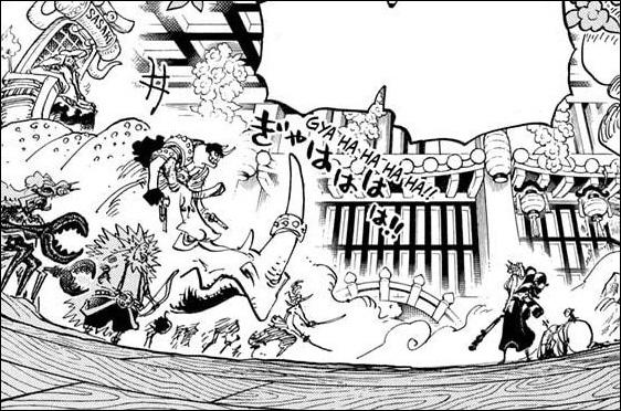 One Piece chapter 994 - Yamato defends Momonosuke and Shinobu against Sasaki and his Armored divison