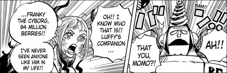One Piece chapter 996 - Yamato reacting to General Franky