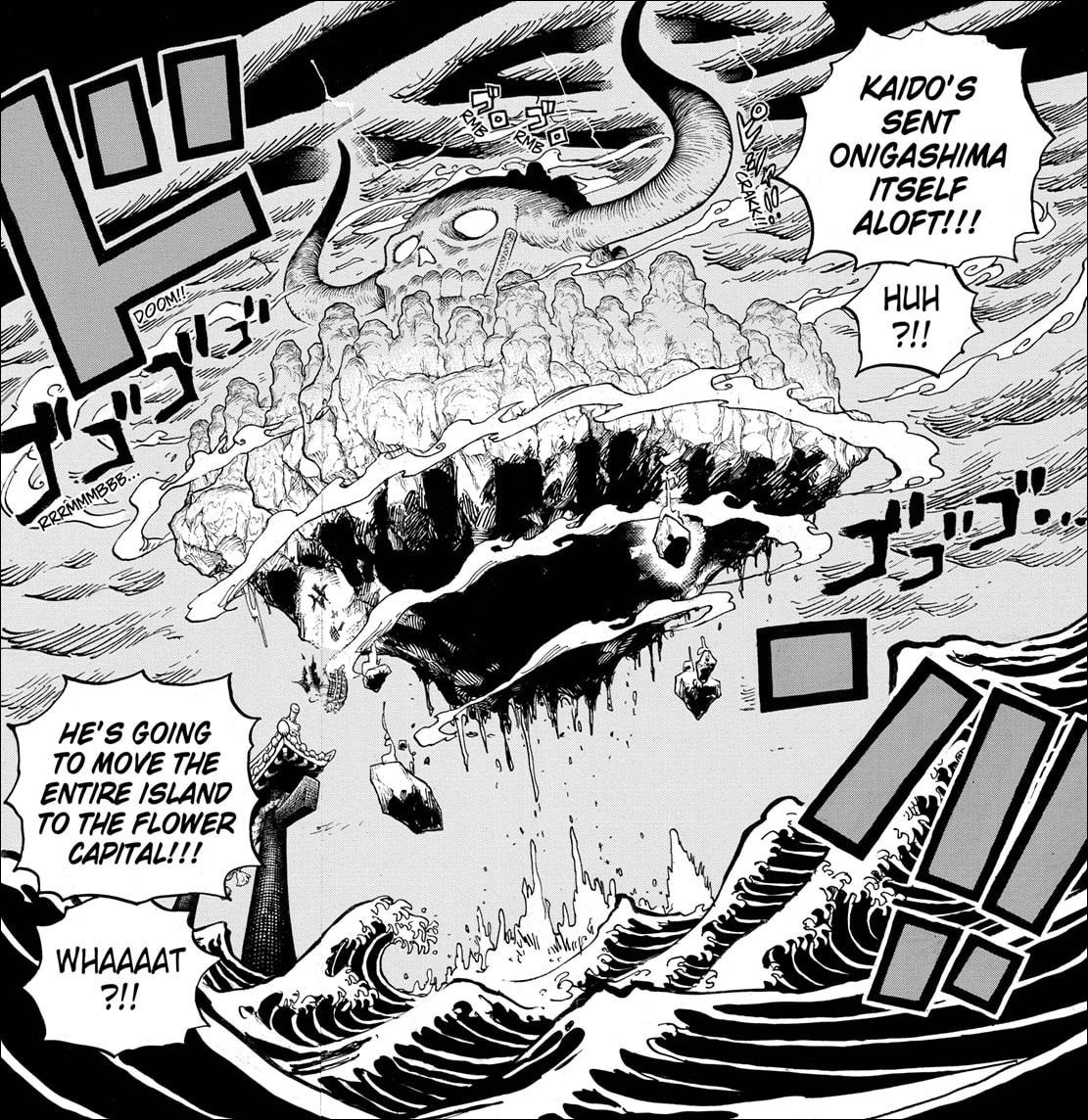 One Piece chapter 997 - Kaido lifts Onigashima Island up into the sky with his flame clouds