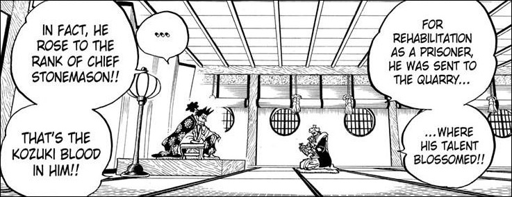 One Piece chapter 960 - Oden and his skills as a stonemason