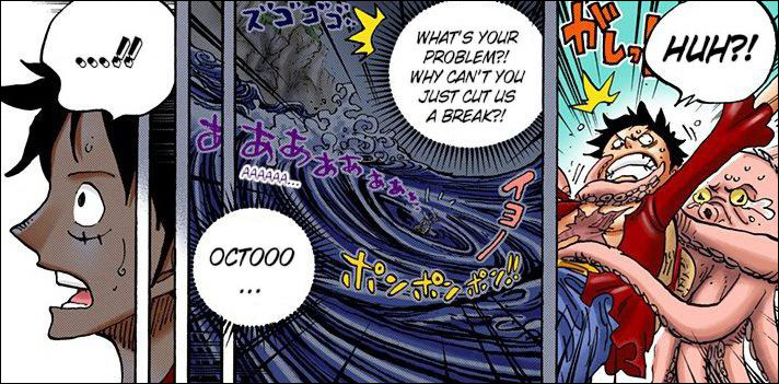 One Piece chapter 911 - Luffy is held back by the Octopus
