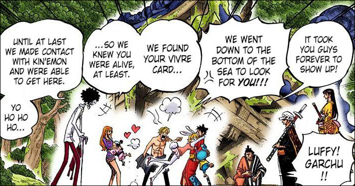 One Piece chapter 919 - Sanji reveals he retrieved Luffy's vivre card from the bottom of the sea